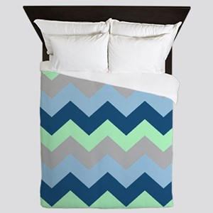 Modern Blues Chevron Stripes Queen Duvet