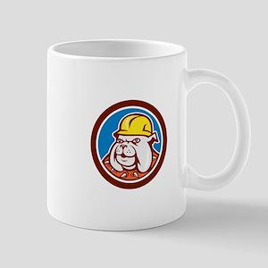 Bulldog Construction Worker Head Cartoon Mugs