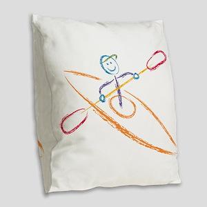 Brush Kayak Burlap Throw Pillow