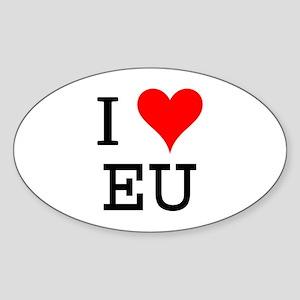 I Love EU Oval Sticker