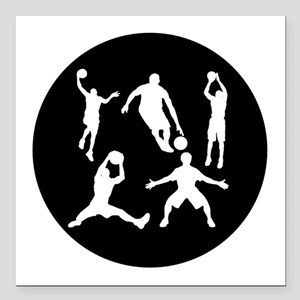 "Basketball Players Square Car Magnet 3"" x 3"""