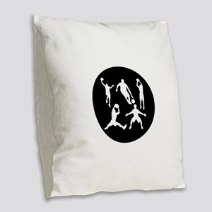 Basketball Players Burlap Throw Pillow