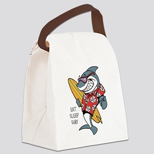 Surfing shark Canvas Lunch Bag