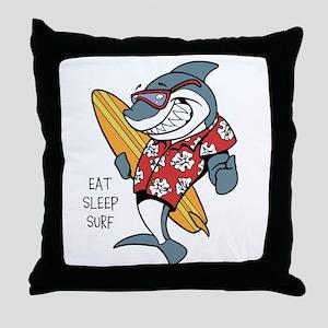 Surfing shark Throw Pillow