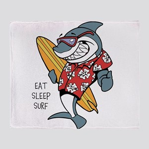 Surfing shark Throw Blanket