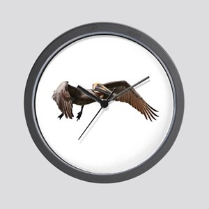 Pelican in Flight Wall Clock