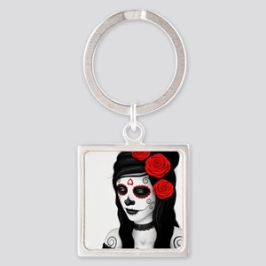 Day of the Dead Girl with Red Roses on White Keych