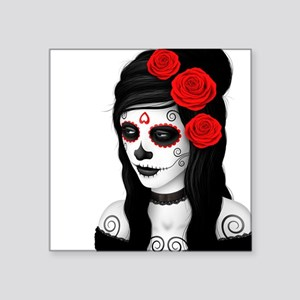 Day of the Dead Girl with Red Roses on White Stick