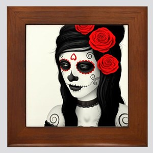 Day of the Dead Girl with Red Roses on White Frame