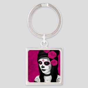 Day of the Dead Girl with Pink Roses Keychains