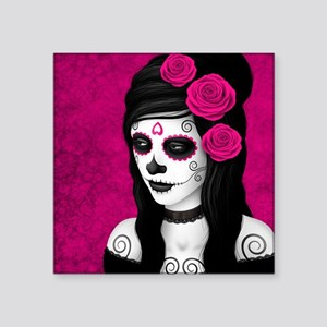 Day of the Dead Girl with Pink Roses Sticker