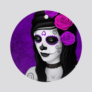 Day of the Dead Girl with Purple Roses Ornament (R