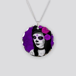 Day of the Dead Girl with Purple Roses Necklace Ci