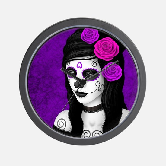 Day of the Dead Girl with Purple Roses Wall Clock