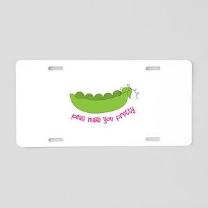 Peas Make You Pretty Aluminum License Plate
