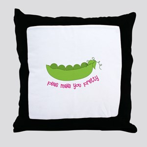 Peas Make You Pretty Throw Pillow