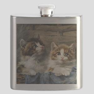 Two lovely kittens in a basket Flask