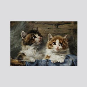 Two kittens in a basket painting Rectangle Magnet