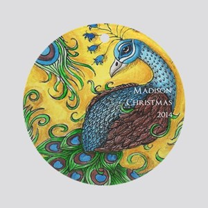 Personalized Peacock Christmas Ornament (round)