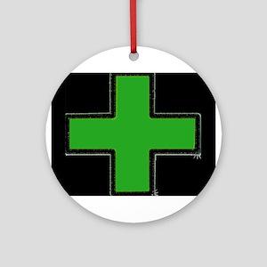 Green Medical Cross (Bold/ black background) Ornam