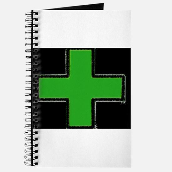 Green Medical Cross (Bold/ black background) Journ