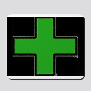 Green Medical Cross (Bold/ black background) Mouse