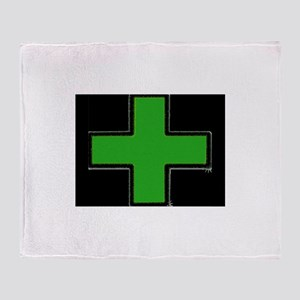 Green Medical Cross (Bold/ black background) Throw