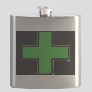 Green Medical Cross (Bold/ black background) Flask
