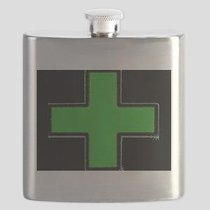 Green Medical Cross (Bold/ black background) Flask