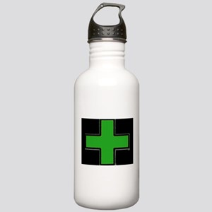 Green Medical Cross (Bold/ black background) Water