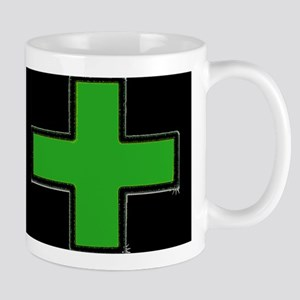 Green Medical Cross (Bold/ black background) Mugs