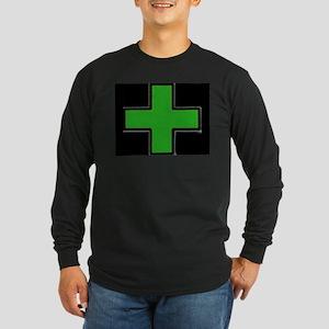 Green Medical Cross (Bold/ black background) Long