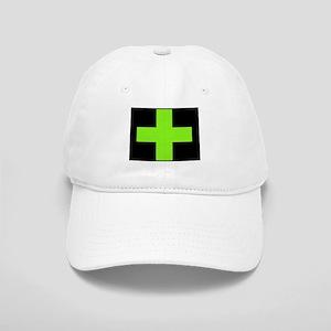 Neon Green Medical Cross (black background) Baseba
