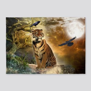 Wonderful tiger with crows in the night 5'x7'Area