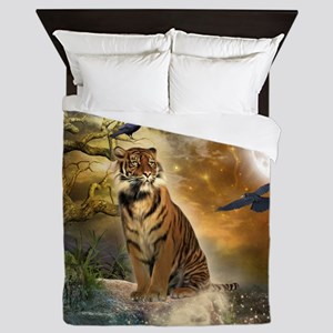 Wonderful tiger with crows in the night Queen Duve