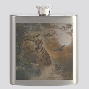 Wonderful tiger with crows in the night Flask