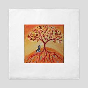 Schnauzer Tree of Life Queen Duvet