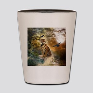 Wonderful tiger with crows in the night Shot Glass