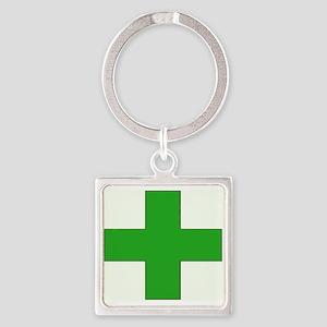 Green Medical Cross Keychains
