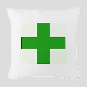 Green Medical Cross Woven Throw Pillow