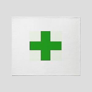 Green Medical Cross Throw Blanket