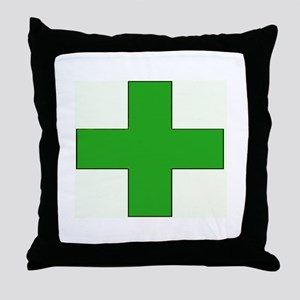 Green Medical Cross Throw Pillow