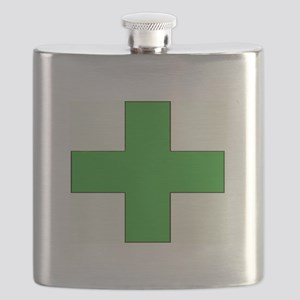 Green Medical Cross Flask