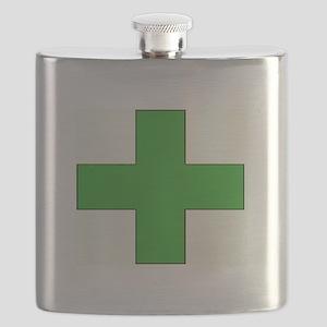 Green Medical Cross Flask