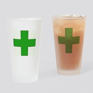 Green Medical Cross Drinking Glass