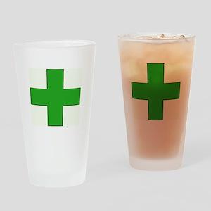 Green Medical Cross Drinking Glass