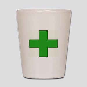 Green Medical Cross Shot Glass