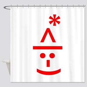 Christmas Elf Emoticon Smiley Shower Curtain