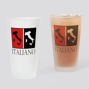 Italiano: Red Black Drinking Glass