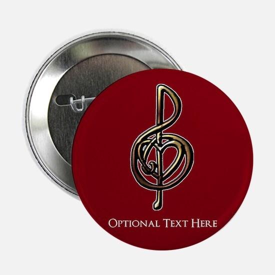 "Custom Red Treble Clef Music Design 2.25"" Button"